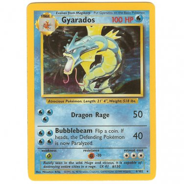 Pokemon   Gyarados Holofoil Card ~ Base Set ~Unlimited ~ Never Played  Near Mint/Mint