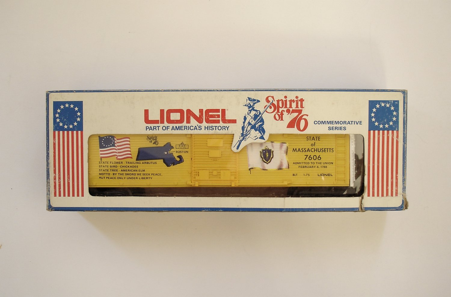 Lionel Spirit of 76 Massachusetts Boxcar 6-7606 NEW