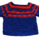 """18"""" Doll Clothes Knit Navy Blue and Red Pullover Sweater"""