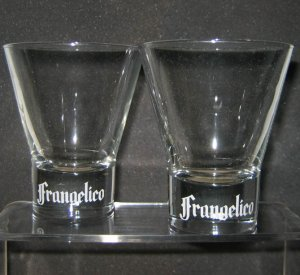 FRANGELICO Cocktail Rock Glasses (2), 8oz, clear glass, etched logo, NEW