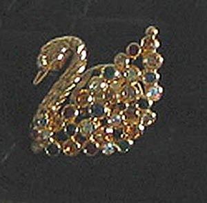 Swarovski SWAN TAC PIN, color crystals, gold tone, NEW