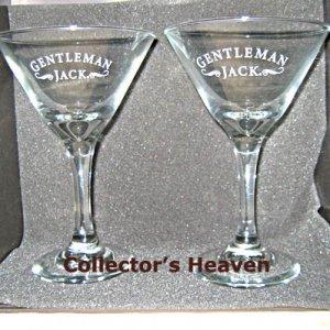(2) GENTLEMAN JACK Daniels Stemmed Cocktail Martini Glasses NEW
