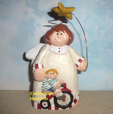 Eddie Walker GUARDIAN ANGEL Figurine, Angel with boy on bicycle,  14591 Midwest, NEW MIB