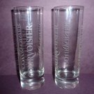 New COURVOISIER Tall Shot Glasses, set of 2, clear glass, etched logo