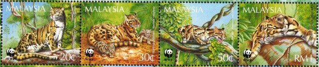 Malaysia S#541a 1995 WWF Clouded Leopard MNH