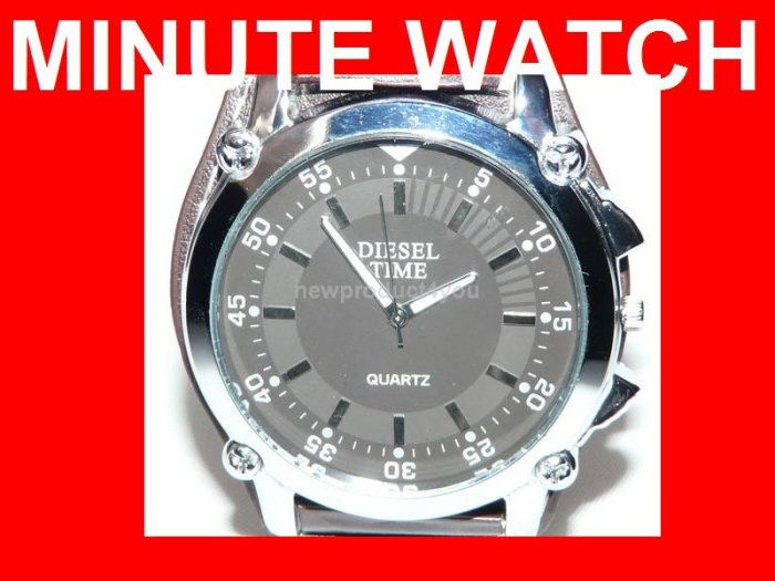 NEW STYLE MINUTE ANALOG WATCH - BLACK DIAL