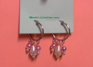 Pink & Ivory  Faux Pearl Hoops