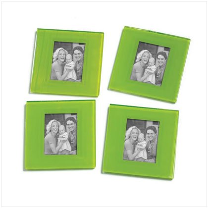 Green Photo Frame Coasters - 4 Pc