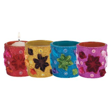 Flowers Votive Holders - 4 Pc 35541