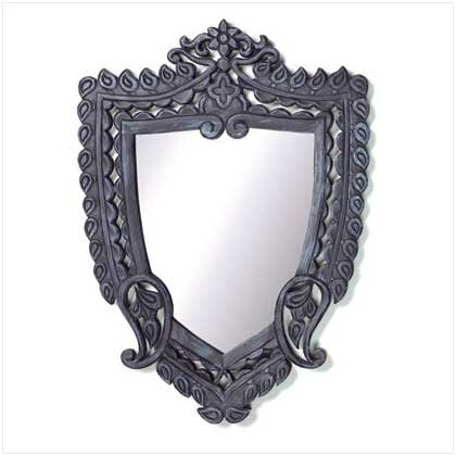 Wood Carved Shield Wall Mirror 37860