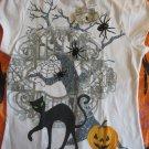 HALLOWEEN TEE SHIRTGirls M 7/8 Cat spiders pumpkins NWT