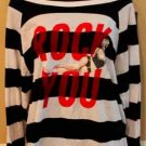 JOYRICH ROCK YOU OFF SHOULDER SWEATER STRIPED RED WRITING (AUTHENTIC) retail $50