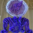 PURPLE SEQUINED WITCH COSTUME JACKET & WITCH HAT