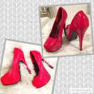 BORDELLO RED PATENT LEATHER PLATFORMS 7