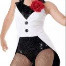 circus ringmaster COAT TAIL BLK WHT TUXEDO DRESS LEOTARD