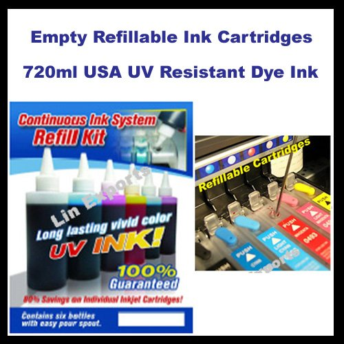 UV Ink  Refillable Cartridges for Epson R260 R280 R380 RX595 RX580 RX680 FREE S&H!!!