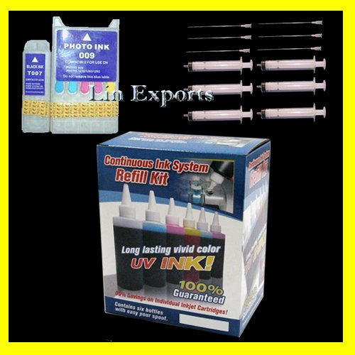 UV Ink  Refillable Cartridges Package for Epson 900 1270 1280 1290 T007 T009 FREE S/H Worldwide!