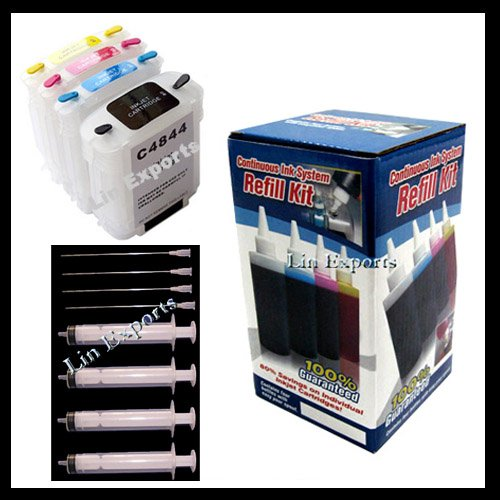 Refillable Cartridges for HP 10 11 Pigment/Dye ink package HP C4844A C4836A C4837A C4838A FREE S&H!!