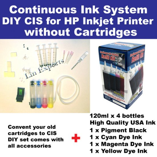 DIY Kit for CISS CIS Ink system HP 94 95, HP338 343 HP131 135  Pigment + Dye Ink Package -Free S&H!