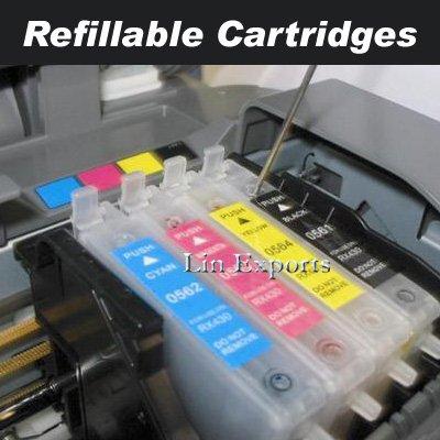 Refillable Cartridges for Epson C63 C65 C83 C85 CX3500 CX4500 CX6300 CX6500 T0461/T0472-4 FREE S&H!!