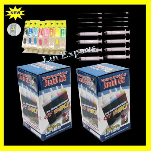 UV Ink Refillable Cartridges for Canon PIXMA Pro9000 Pro 9000 Mark II Auto Reset Chips - FREE S/H!!!