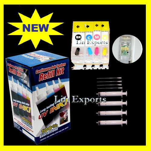 Pigment/UV Ink Refillable Cartridges for Canon Pixma ip3300 ARC Chips PGI 5 CLI 8 FREE S&H!