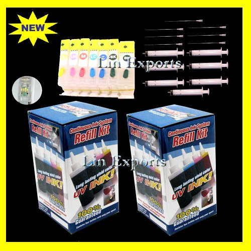 Pigment/UV Ink Refillable Cartridges for Canon Pixma MP970 AutoReset Chips PGI 5 CLI-8 FREE S&H!!!
