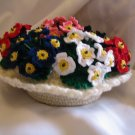 FLOWER FLORAL ARRANGEMENT HANDMADE COTTON THREAD CROCHET CROCHETED