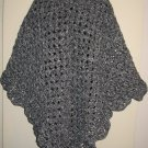 SCALLOPED EDGE PONCHO IN HEATHER GRAY