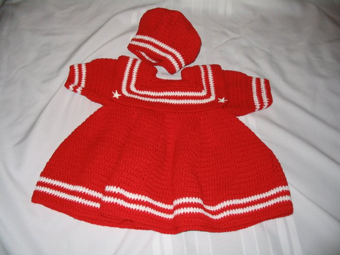 BABY SAILOR DRESS WITH MATCHING CAP IN CHERRY RED HANDMADE CROCHET CROCHETED
