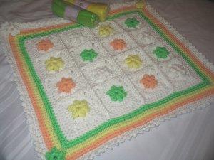 SHERBET GRANNY BABY BLANKET HANDMADE CROCHET CROCHETED DOUBLE YARN