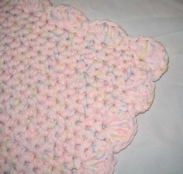 RECTANGLE NURSERY RUG HANDMADE CROCHET CROCHETED IN PINK