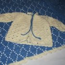 DIAMOND LAYETTE BLANKET AND SWEATER SET HANDMADE CROCHET CROCHETED