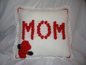 MOTHER'S DAY ROSE PILLOW HANDMADE CROCHET CROCHETED