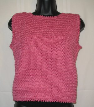 FASHION CHOP TOP HANDMADE CROCHET CROCHETED IN WARM ROSE