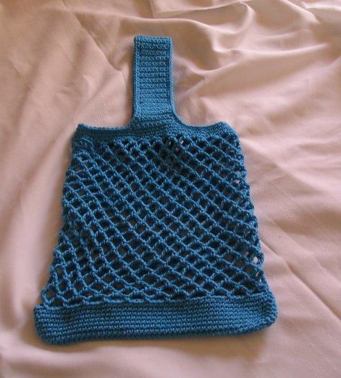 MESH STYLE CROCHETED BAG HANDMADE CROCHET IN HOT BLUE