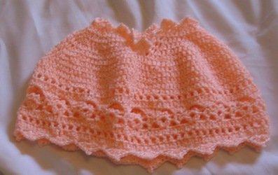 Peach Baby Poncho Handmade Crochet Crocheted