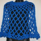 SKIPPER BLUE PONCHO HANDMADE CROCHET CROCHETED