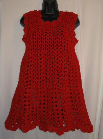 CHERRY RED CROCHETED DRESS
