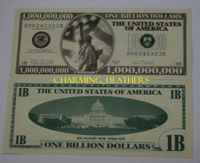 1 BILLION  DOLLAR BILL NOVELTY NOTE