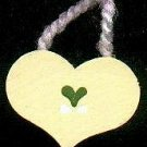 Hanging Heart Yellow / Dark Green - Wooden Miniature