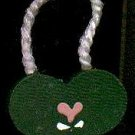 Hanging Heart Dark Green / Pink - Wooden Miniature