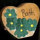 Bath Heart - Green - Wooden Miniature
