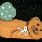 Bear with Light Green Heart - Wooden Miniature