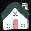 Cottage - Dark Green / Pink - Wooden Miniature