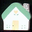 Cottage - Green / Peach - Wooden Miniature