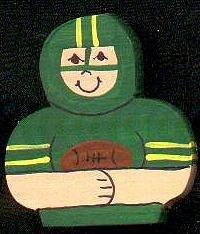 Green Football Player - Sports Wooden Miniature