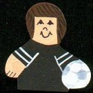 Soccer Player - Brown Hair - Black Jersey - Sports Wooden Miniature