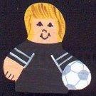 Soccer Player - Blonde Hair - Black Jersey - Sports Wooden Miniature