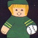 Baseball Player - Blonde Hair - Green Jersey - Sports Wooden Miniature